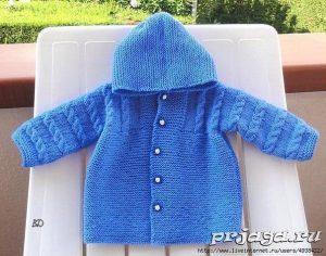 Пальто одной деталью для малыша (Вязание спицами)
