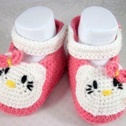 Пинетки Hello Kitty (Вязание крючком)