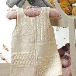 Красивый теплый сарафан для девочки (Вязание спицами)
