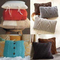 Подушки из старых вязаных вещей (Шитье и крой)