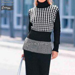 Черно-белый пуловер с жаккардовым узором (Вязание спицами)