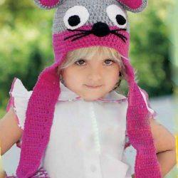 Детская шапочка с ушками (Вязание крючком)