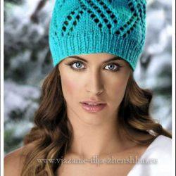 Бирюзовая вязаная шапка (Вязание спицами)