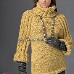 Эффектный свитер с высоким воротом (Вязание спицами)