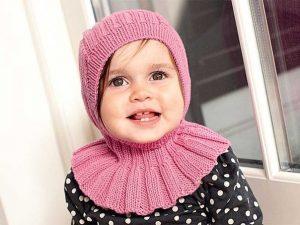 Шапка-капюшон для девочки (Вязание спицами)