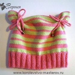 Шапочка для девочки (Вязание спицами)