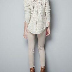 Пуловер с ажурной спинкой (Вязание спицами)