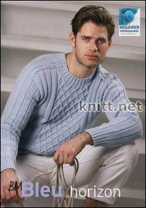 Мужской пуловер с узором из ромбов в классическом стиле (Вязание спицами)