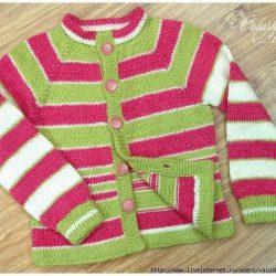 Теплая кофта — реглан для девочки (Вязание спицами)