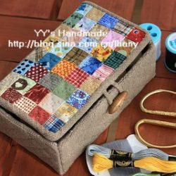 Коробка-шкатулка из ткани  (Квилтинг)