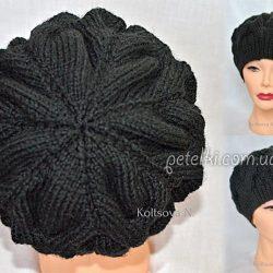 Берет узором из объемных кос (Вязание спицами)