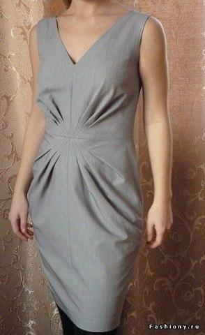 Платье со складками по переду