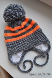 Детская зимняя шапочка (Вязание спицами)