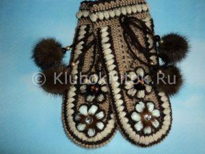 Красивые варежки крючком с цветочным рисунком (Вязание крючком)