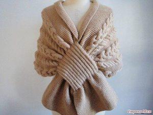 Красивый шарф — накидка (Вязание спицами)