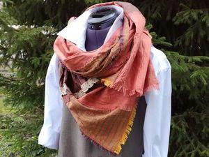 Оригинальный льняной шарф в стиле бохо (Шитье и крой)