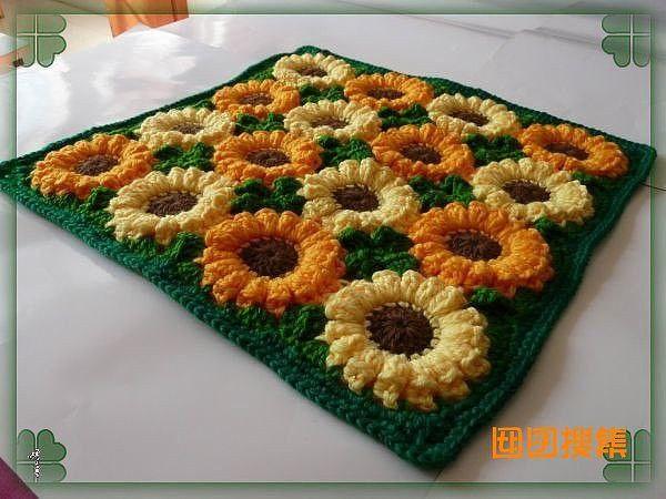 Вязание коврика цветочная поляна