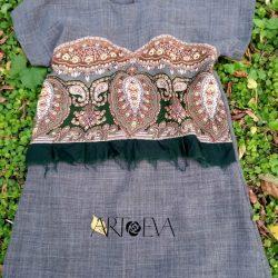 Платье-туника с отделкой из павловопосадского платка (Шитье и крой)