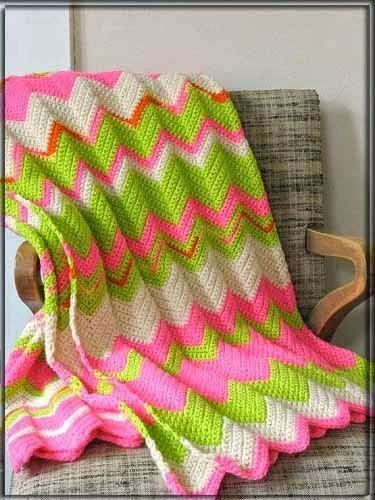 Вязание зигзага для пледа