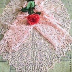 Шаль «Нежная роза» (Вязание спицами)