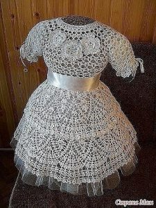 Платье Снежинка для девочки (Вязание крючком)