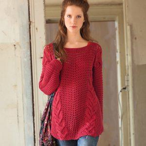 Красный джемпер в стиле оверсайз (Вязание спицами)