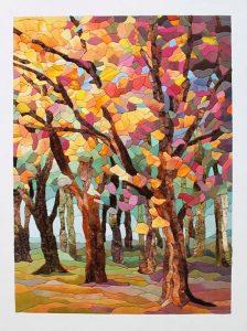 «Осенний лес»: картина в технике пэчворк без иглы