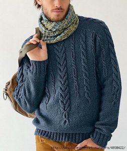 Мужской пуловер с рельефным узором (Вязание спицами)