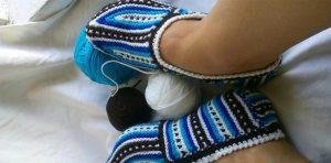 Удобные тапочки (Вязание спицами)