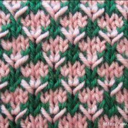 Интересный двухцветный узор «Колючки» (УЗОРЫ СПИЦАМИ)