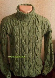 Мужской свитер с косами (Вязание спицами)