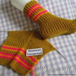Носки на 2-х спицах (Вязание спицами)