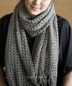 Ажурный шарф перуанским узором Брумстик (Вязание крючком)