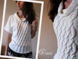 Пуловер с воротником «хомут» (Вязание спицами)