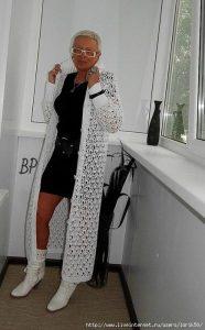 Белое ажурное пальто (Вязание крючком)
