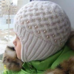 Детская шапочка — Жемчужная зима (Вязание спицами)