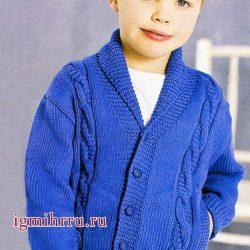 Жакет на мальчика на рост  98(110)122(134)146 (Вязание спицами)