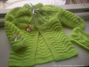 Салатовый кардиган для малышки (Вязание спицами)