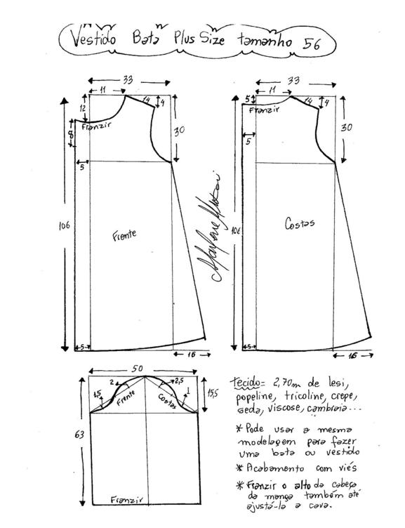 Выкройка платья-натуральная величина размер 62