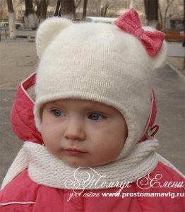 Шапочка «Кошечка» с ушками для девочки (Вязание спицами)