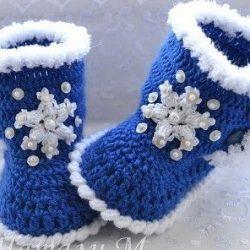 Пинетки-ботиночки. Описание (Вязание крючком)