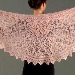 Ажурная шаль (Вязание спицами)