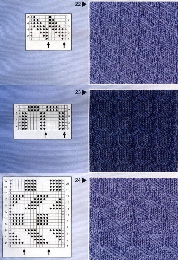 Узоры и схемы вязания спицами описание 70