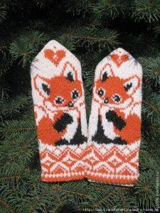 Узор «лисички» для варежек и шапочки (Вязание спицами)