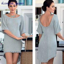 Асимметричное мини-платье с удлиненной округлой спинкой (Вязание спицами))
