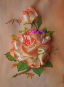 Вышиваем розу лентами (Вышивка лентами)