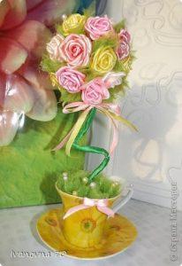 Розовое деревце. Мастер-класс (Цветы из ткани)