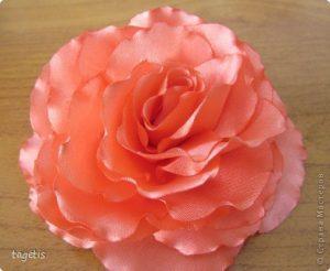 МК «Распустившаяся роза» (Цветы из ткани)