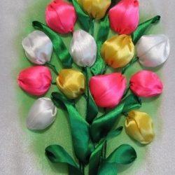 Тюльпаны (Вышивка лентами)