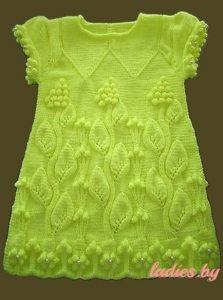 Красивое платье с узором «Виноградная лоза» для девочки 1-2 года (Вязание спицами)